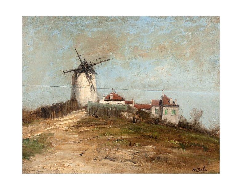 robert charles g mols 1848 1903 paysage au moulin lot n 7 tableaux arts d co. Black Bedroom Furniture Sets. Home Design Ideas
